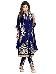 Shreenathji Enterprise Nevy Blue Georgette Dress Materials (H103-04_nevy blue_Free size)