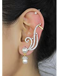 Muchmore Brass Clip-On Earring For Women (White)
