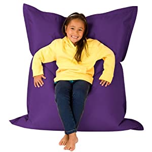 Hi-BagZ® KIDS Bean Bag 4-Way Lounger - GIANT Childrens Bean Bags Outdoor Floor Cushion PURPLE - 100% Water Resistant
