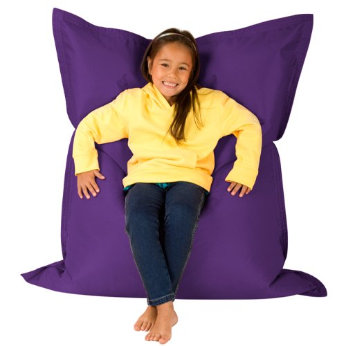 Hi-BagZ® KIDS Bean Bag Vierweg Liege - RIESIGER Kinder Sitzsack Outdoor Bodenkissen LILA - 100% Wasserabweisend