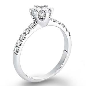EGL Zertifikat Klassischer 18 Karat (750) Gelbgold Damen - Diamant Ring Round 0.70 Karat H-SI2 (Ringgröße 48-63)