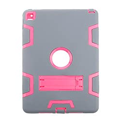 Magideal Shockproof Heavy Duty With Hard Stand Case Cover for iPad Air2 Grey&Rose red