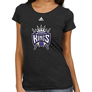 NBA adidas Sacramento Kings Ladies Better Blank Primary Logo T-Shirt - Black by adidas