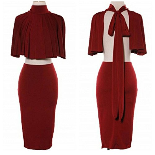 Women Sexy Christmas Party Cloak Dress Wine Red Cotton Blend Two Piece Outfit