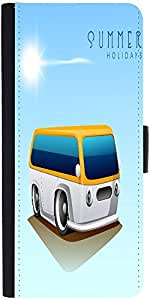 Snoogg Summer Holidays Background With Caravan Designer Protective Phone Flip Case Cover For Samsung Galaxy A8