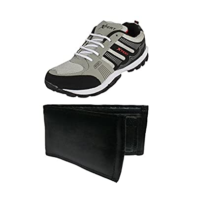 Earton Combo Pack of 2 Men's Grey Sports Shoes With Wallet