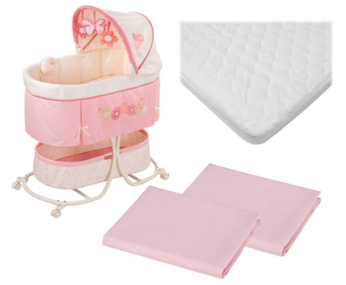 Summer Infant Soothe & Sleep Motion Bassinet With Waterproof Mattress Pad & Extra Sheets front-575100
