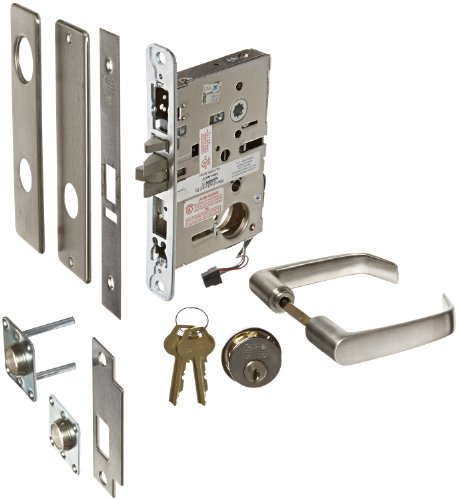 """Corbin Russwin Ml20905 Satin Stainless Steel Electric Mortise Lock With Request To Exit Monitor, 24 Vac/Vdc, 1-3/4"""" Door Thickness (Pack Of 1)"""