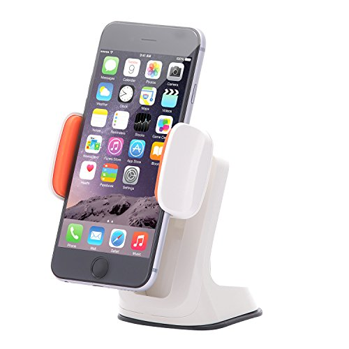 Dash Crab Duet - Cell Phone Car Mount Holder, Multiple Viewing Angles with Height Adjustable Smart Grip, Dashboard Windshield Mount for iPhone 5s 6s Plus Galaxy S7 S6 Edge Note 5 4 -Retail Pack(Ivory)