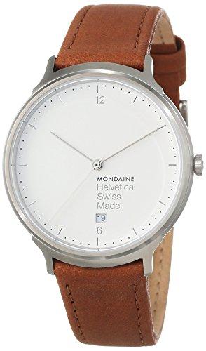 Mondaine reloj de pulsera unisex Helvetica No1 Luz analógico de cuarzo de cuero MH1.L2210.LG