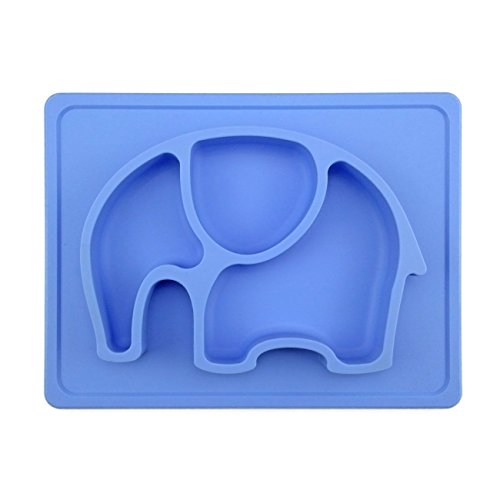 Mini Silicone Kids Placemat,Baby Feeding Mat,Silivo 10″x7.7″x1″ One Piece Placemat Fits Most Highchair Trays Elephant Design Dinnerware Super Self Suction Pad Non-slip Placemats Tableware (Blue)