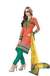 DARPAN TEXTILES Ethnicwear Women's Dress Material(Orange_Free Size)