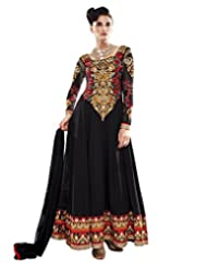 Lookslady Embroidered Black Pure Georgette Thread Work Semi Stitched Anarkali Suit