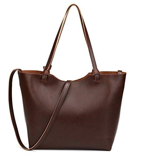 BAOSHA HB-18 Semplice Vintage Donna Pelle Sintetica Borsa Shopper Borse a Mano da Donna Borse a Tracolla Borsetta Shopping Bag Borsa Tote Sacchetto (Caffè)