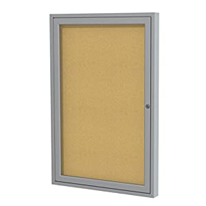 """Ghent 36""""x24"""" 1-Door Satin Aluminum Frame Enclosed Bulletin Board, Natural Cork, Made in the USA"""