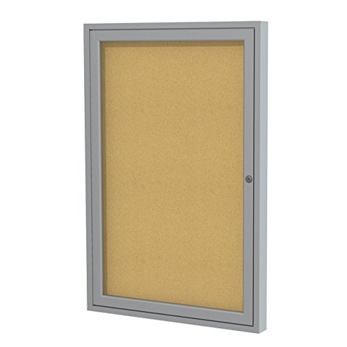Ghent 36 x24 1 door satin aluminum frame enclosed for Office display board