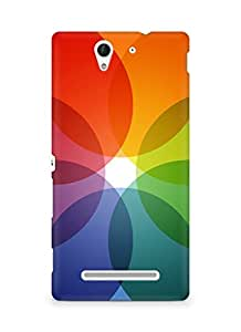 Amez designer printed 3d premium high quality back case cover for Sony Xperia C3 D2502 (Rainbow color circle pattern)
