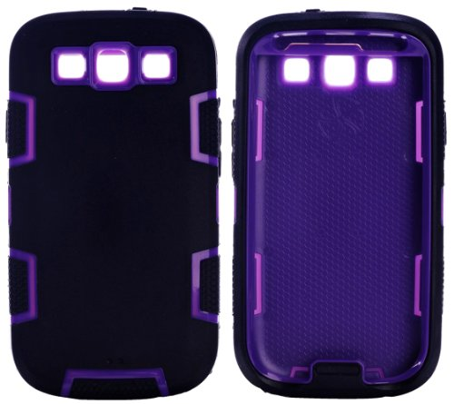 Mylife (Tm) Ninja Black And Violet Purple - Classic Robot Armor Series (3 Piece Neo Hybrid Flexi Case + Urban Body Armor Glove) Case For Samsung Galaxy S3 Gt-I9300 And Gt-I9305 Touch Phone (Thick Silicone Outer Gel + Tough Rubberized Internal Shell + Myli