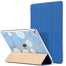 iPad Air 2 Case, ULAK [Polka Dot] Folio Slim Smart Case Cover with Trifold Stand and Magnetic Auto Wake & Sleep Function for iPad Air 2 / iPad 6th Generation (Blue)