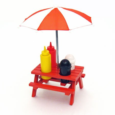 "Back Yard Umbrella Picnic Table Shaped Mustard Ketchup Salt & Pepper Shaker Condiment Caddy Set 13.5"" - Red"
