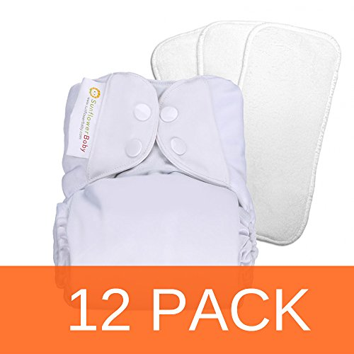 Sunflowerbaby White One Size Stay Dry Cloth Diaper 12 Pack