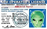 Ufo Operator's / Alien Novelty Driver License