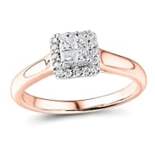 buy Princess Cut Petite Diamond Engagement Ring In 10K Rose Gold (1/2 Cttw)