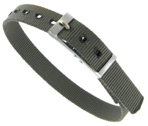 8mm Milano Slide Through Sports Wrap Nylon Textile Solid Grey Watch Band Strap