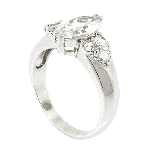 Classic Sterling SIlver Promise Ring w/Marquise Brilliant White CZ, 8