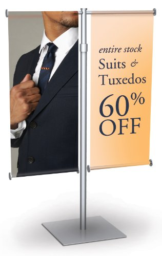 "Premium Aluminum Counter Top Mini Banner Stand Display With Adjustable Height. 9"" Wide Double Wing, Slide-In Design. Color: Black (Silver Shown). Made In Usa."
