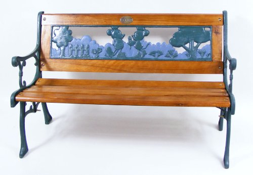 Mickey &amp; Minnie Mouse. Children&#039;s Garden Bench. (Wood &amp; Cast Iron)
