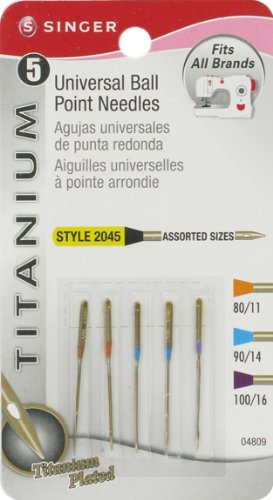 Read About Singer Titanium Universal Ball Point Machine Needles for Knit Fabric, Assorted Sizes, 5-P...