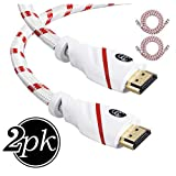 HDMI Cable 1.5 ft - 2 Pack - 4K Resolution UHD 2.0b Ready - Supports Ethernet Ultra HDR Video HD Bandwidth 18Gbps - Audio Return Channel - HDCP 2.2 Co