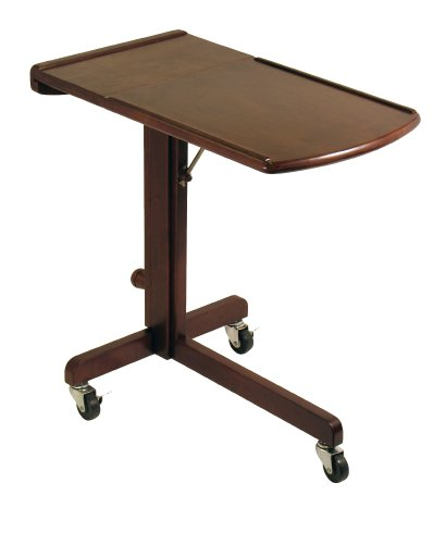 Winsome Wood Adjustable Laptop Cart/Table, Antique Walnut