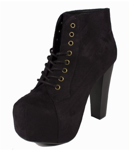 Rosa! By Speed Limit 98 Edgy Sexy Lace-up Platform Ankle Bootie Wooden Block High Thick Heels in Black