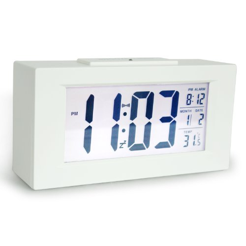 "Hito™ 6"" smart, simple and silent alarm clock w/ date and temperature display, repeating snooze, sensor light + night light"