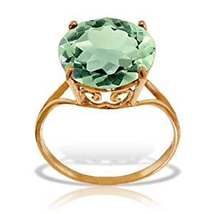 14k Solid Rose Gold Ring with Natural 12.0 MM Round Green Amethyst - Size 6.5