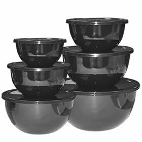 Calypso Basics, 44100, 12 Piece Enamel On Steel Bowl Set With Lids, Black