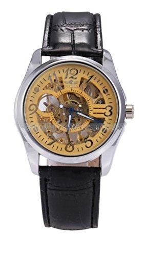 Winner Skeleton Gold Dial Hand-Winding Fashion Mechanical Men'S Wrist Watch