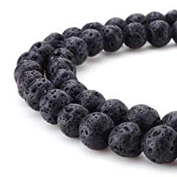 Beadnova Black Lava Stone Rock Gemstone Gem Round Loose Beads for Jewelry Making Findings Accessories(8mm x 1 Strand)