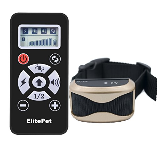 ElitePet Luxe 800 Yard Rechargeable Waterproof Premium Wireless Dog Training Shock Bark Collar System with Automatic Anti No-Bark Feature and Slimline Remote Control (Hunting Dog Bone Whistle compare prices)