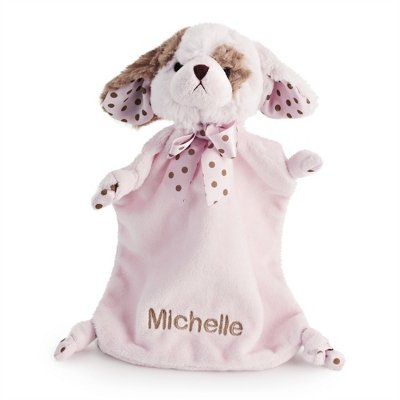 Personalized, Embroidered Stuffed Pink Puppy Blanket front-72018