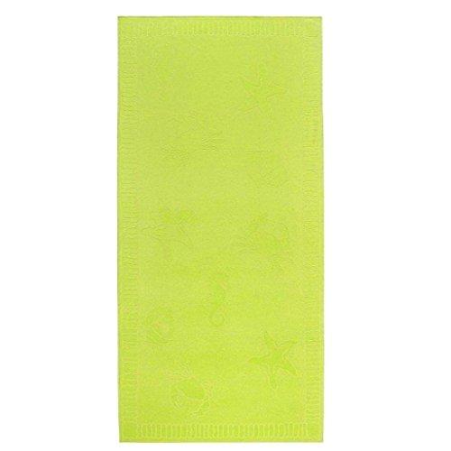 """EXTRA GROßES Velours - Liegetuch / Strandtuch / Badetuch """"Seafood"""" von JMA / Material: 100% Baumwolle / Größe: 100 x 200 cm / Farbe: (059 - lime)"""