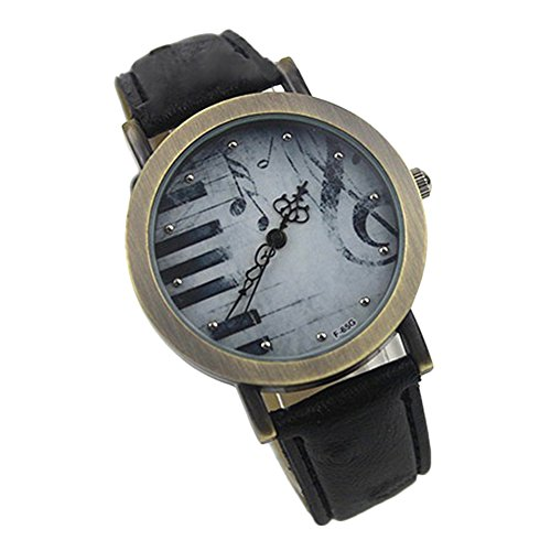 Moonar®Women Clock Vintage Piano Key PU Leather Strap Dress Watches (Black)