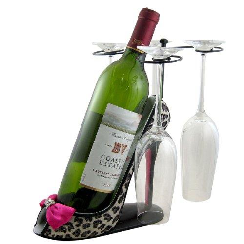 Leopard Wine Bottle and Glasses Holder Heel, Fuchsia
