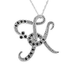 K Letter In Diamond Amazon.com: 14k White Gold Alphabet Initial Letter K Black Diamond ...
