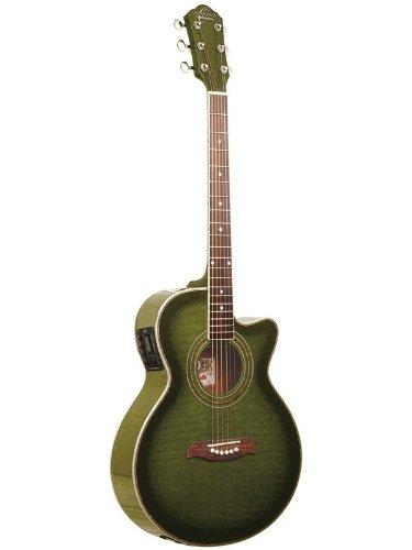 oscar schmidt by washburn og10ce full size cutaway acoustic electric guitar transparent green. Black Bedroom Furniture Sets. Home Design Ideas
