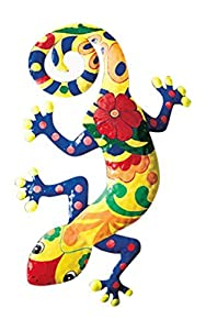 ABC Gecko Metal Wall Art Garden Mexican Talavera Style Colorful from LD