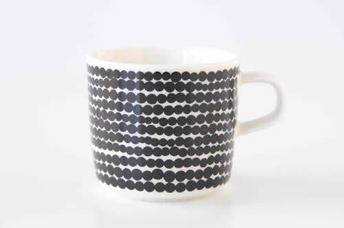marimekko マリメッコ RASYMATTO ラシィマット コーヒーカップ (ハンドル付き)/ ホワイト×ブラック (SIIRTOLAPUUTARHA)