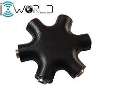 iConnect World 3.5 mm Multi Headphone audio Jack Splitter adapter (Multi Black)